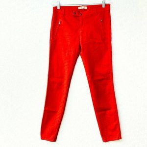 Zara Z1975 Jeans Bright Red Textured Skinny Denim
